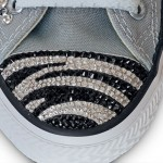 Converse with zebra print in Swarovski Crystals