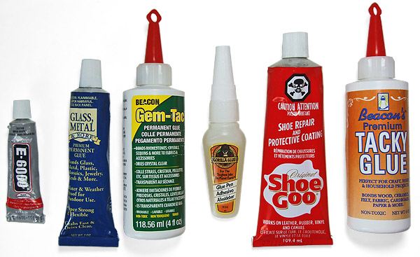 Adhesives used for testing on Havaianas