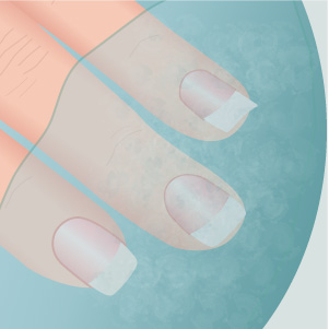 Softening cuticles in warm water