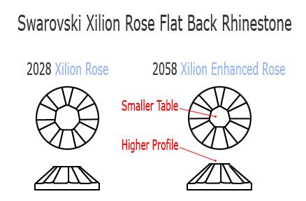 Swarovski Xilion rose 2028 vs 2058 rhinestone flatback